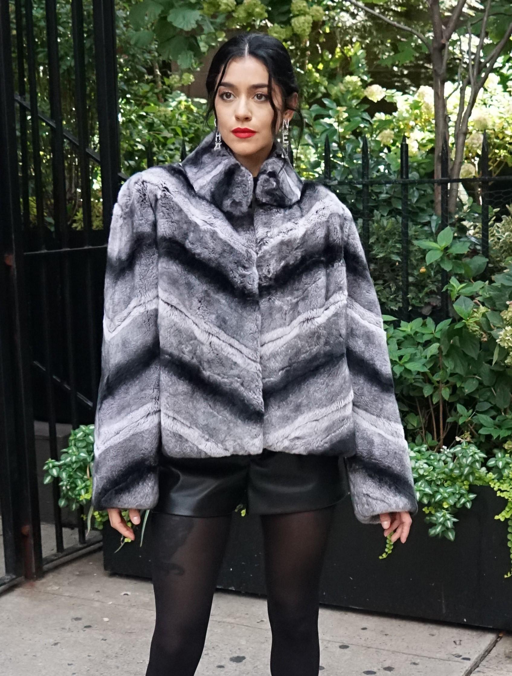 Diagonal Rex Chinchilla Jacket