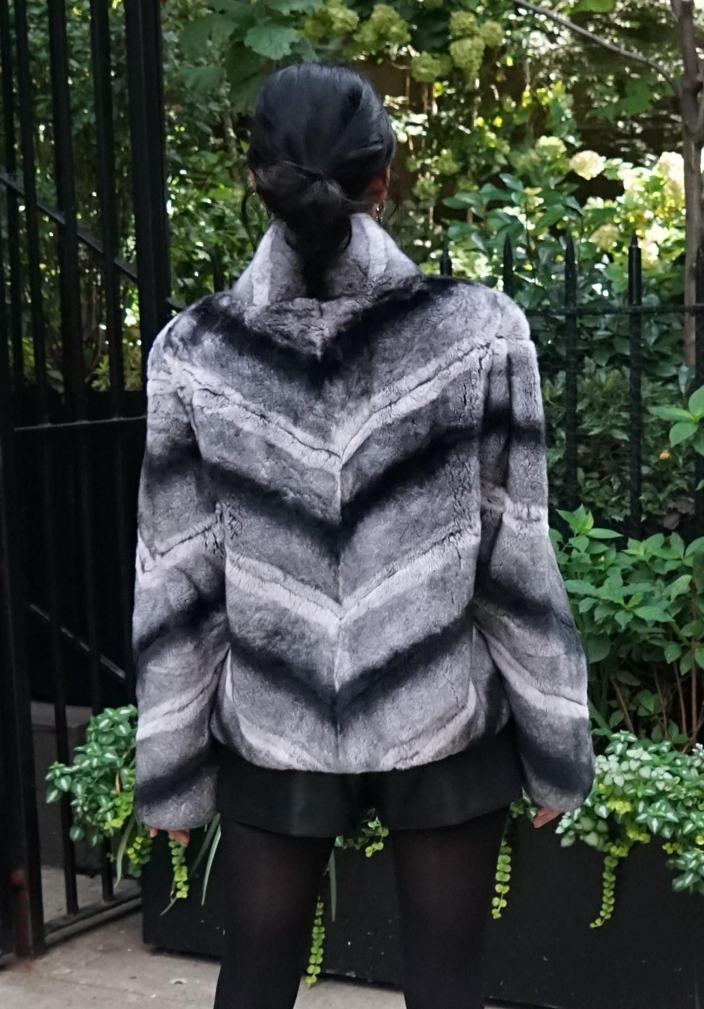 Diagonal Fur Rex Chinchilla Jacket