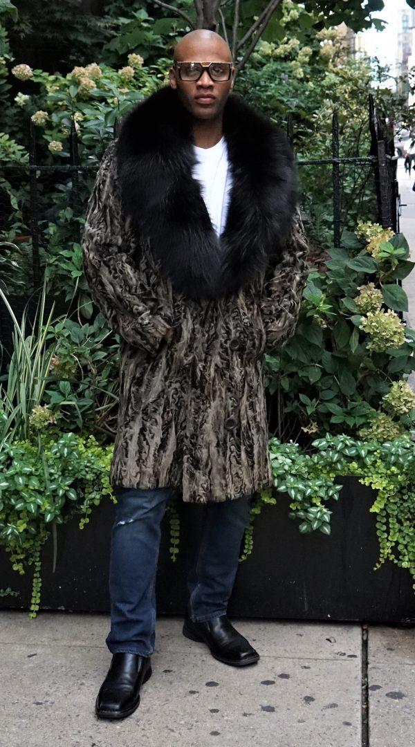 Chocolate Brown Persian Lamb Stroller Brown Fox Collar
