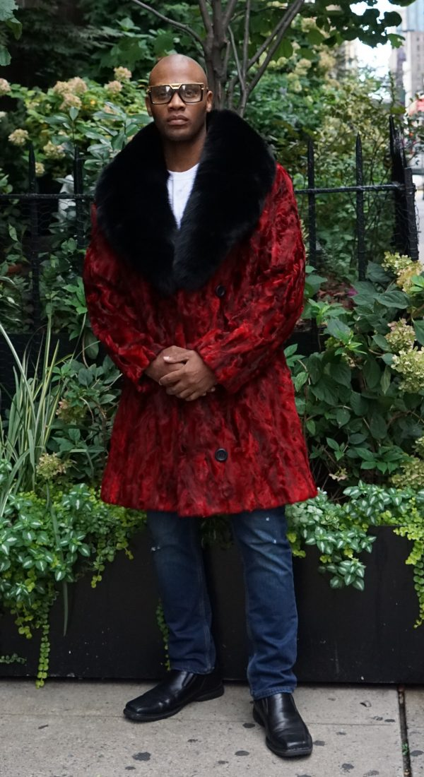 Men's Red Persian Lamb Stroller Black Fox Collar