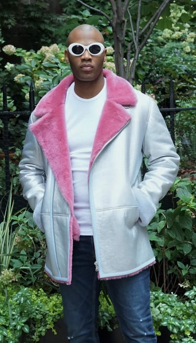Silver Pink Light Blue Men's Shearling Jacket