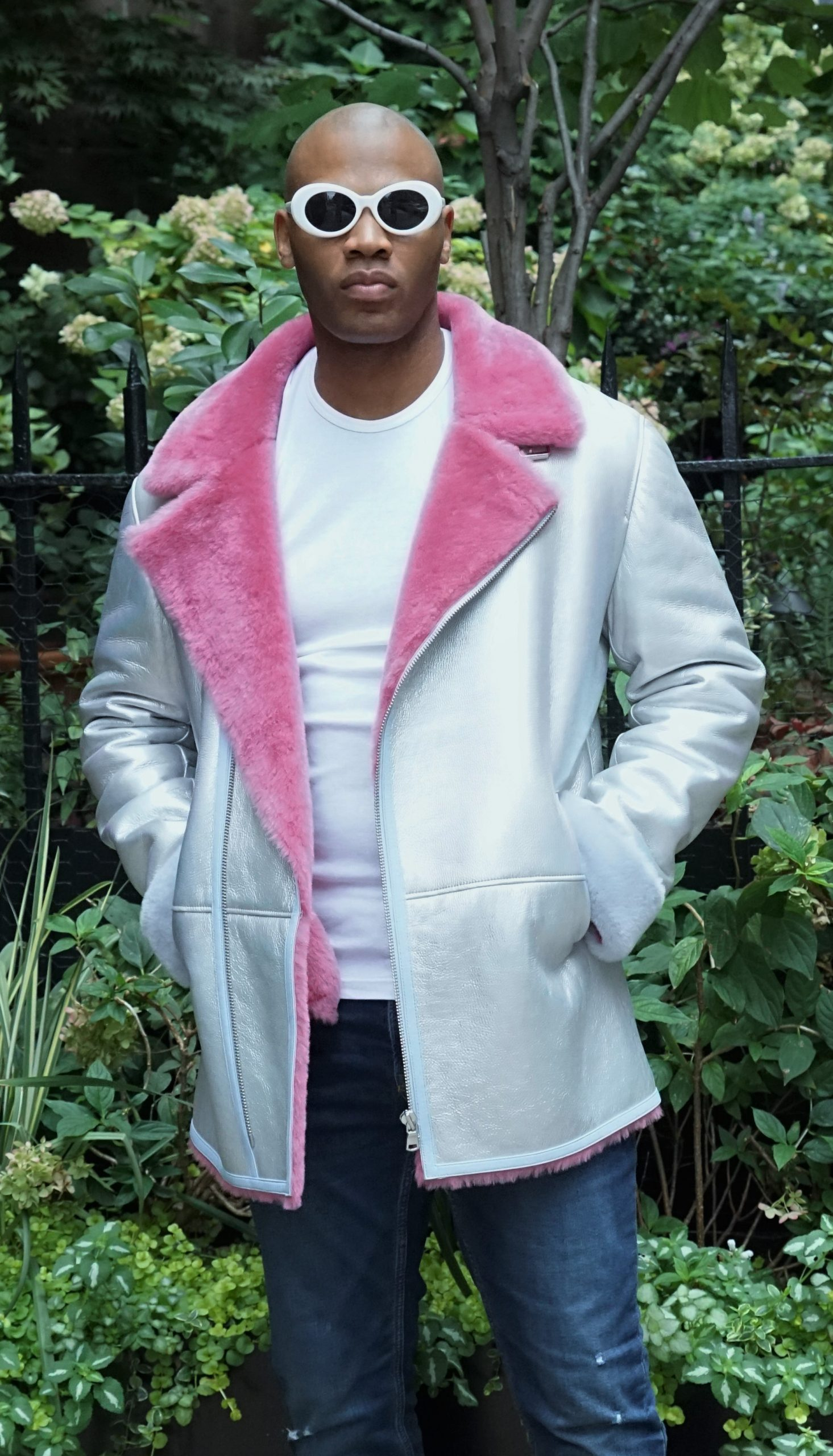 Silver Pink Light Blue Men's Shearling Jacket