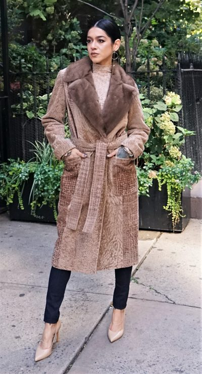 Camel Shearling Coat Belted Mink Collar