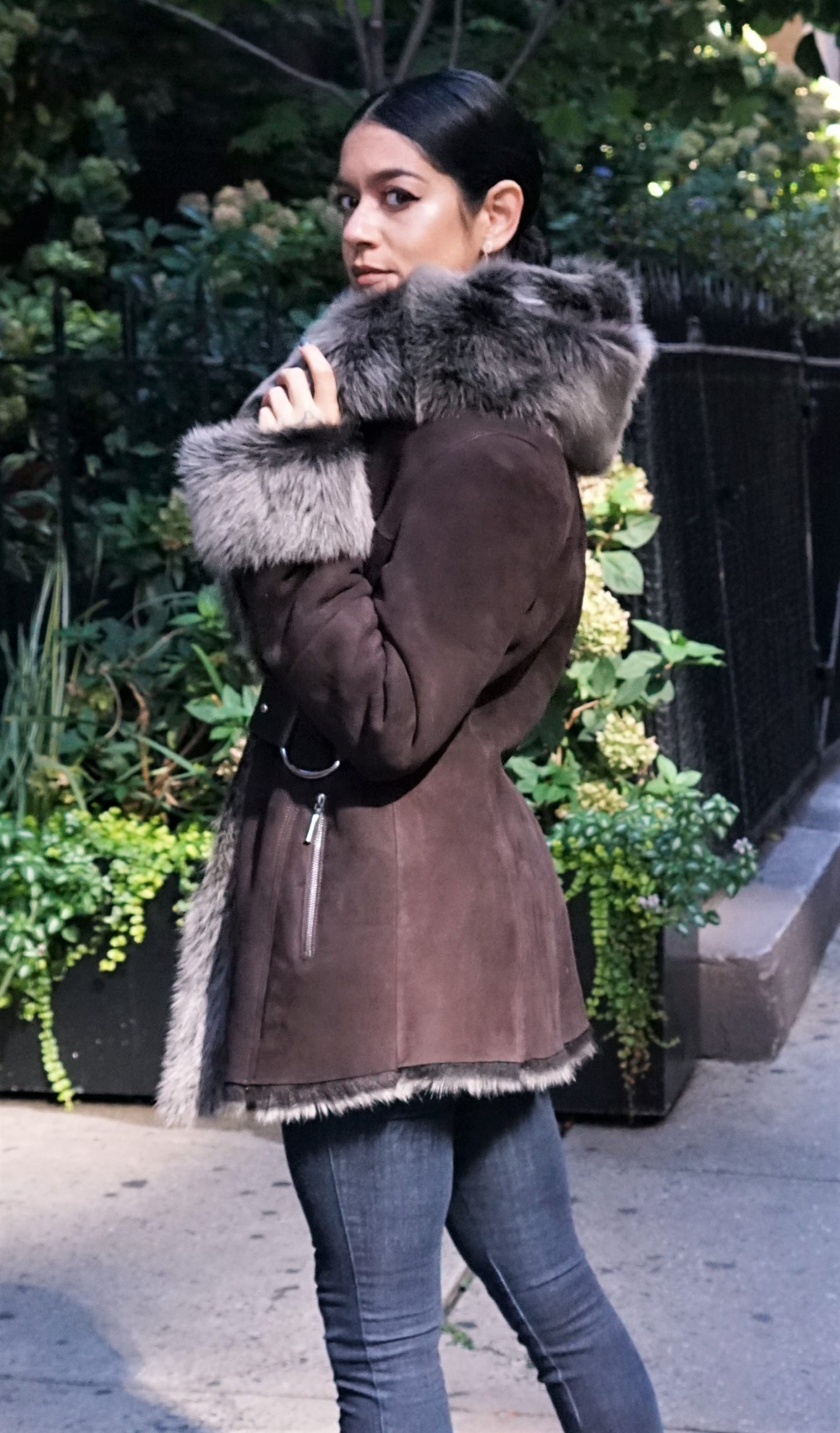 Designer Brown Shearling Jacket Furs