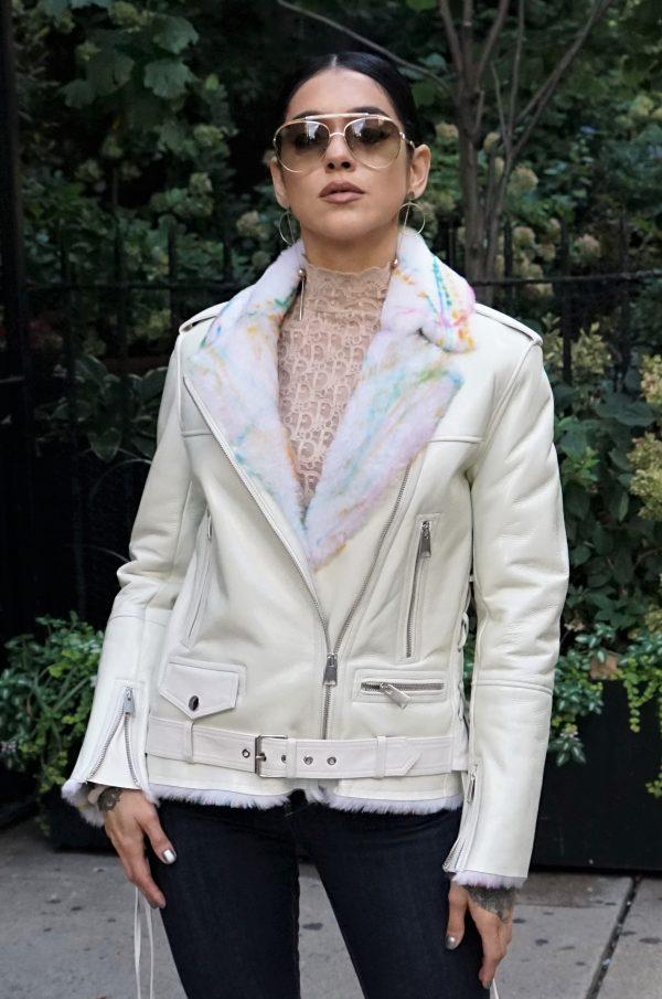 shiny shearling jacket