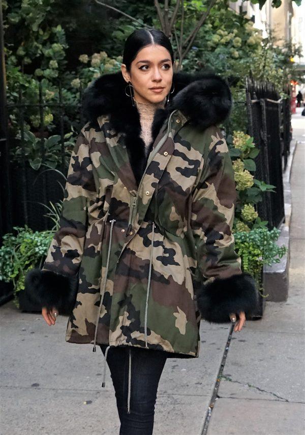 Camouflage Parker Black Fox Trim Fur Lined