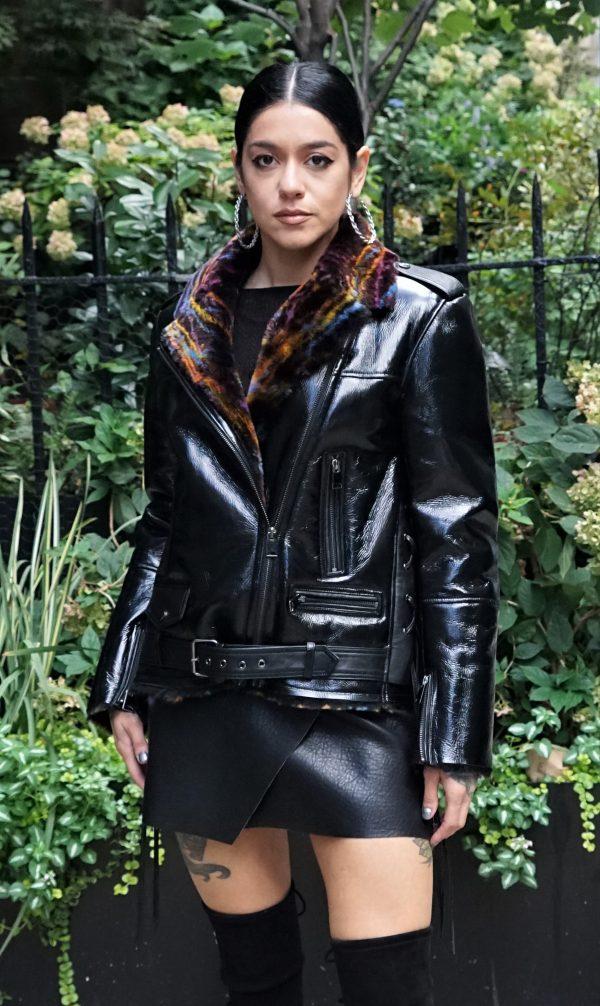 Women's Black Motorcycle Shearling Jacket