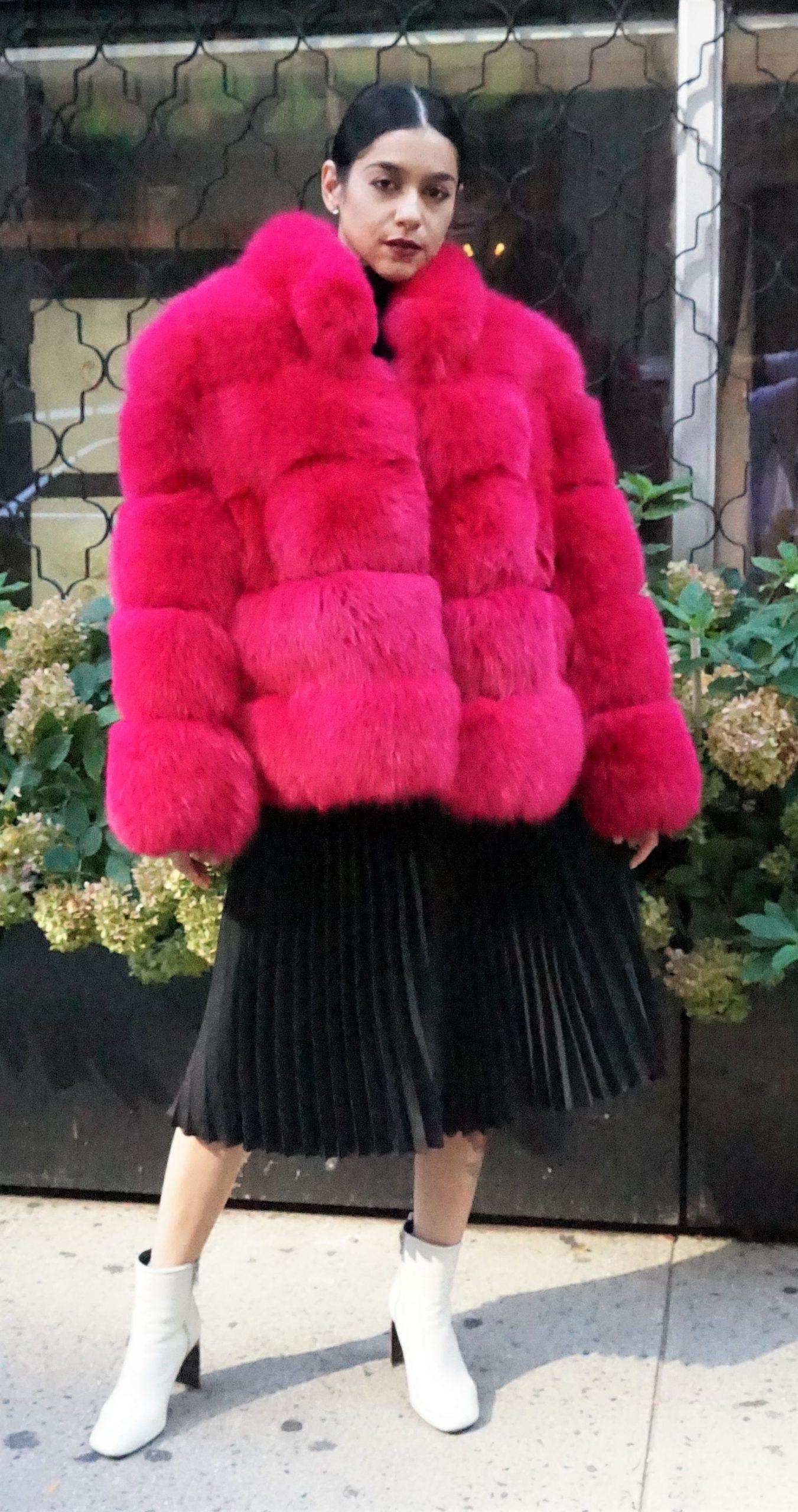 pink fox jacket