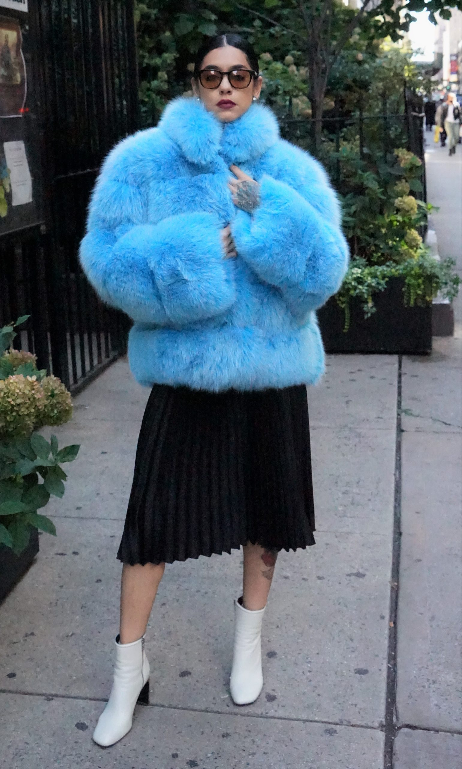 DYED SKY BLUE FOX JACKET