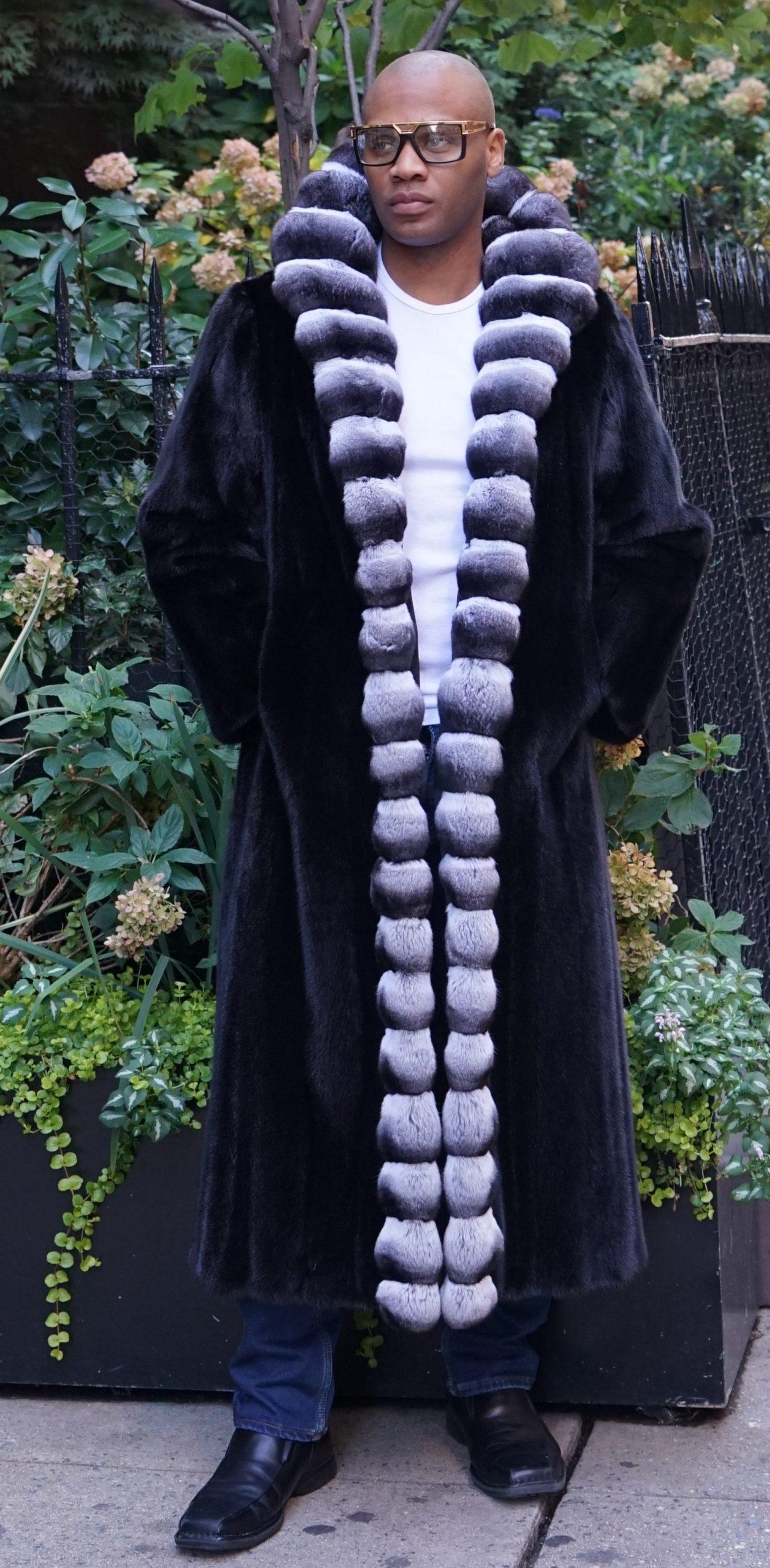 Men's Blackglama Full Length Mink Coat Chinchilla Fronts