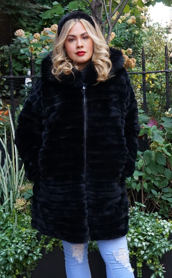 Plus Size Black Rex Hooded Jacket
