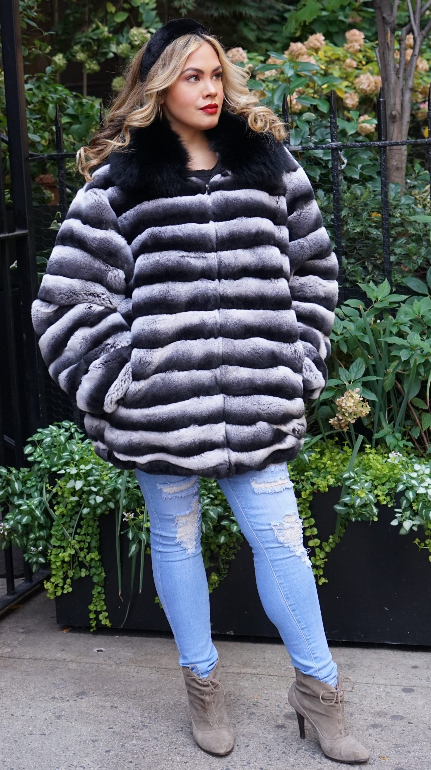 Plus Size Rex Rabbit Jacket Dyed Chinchilla Fox Collar