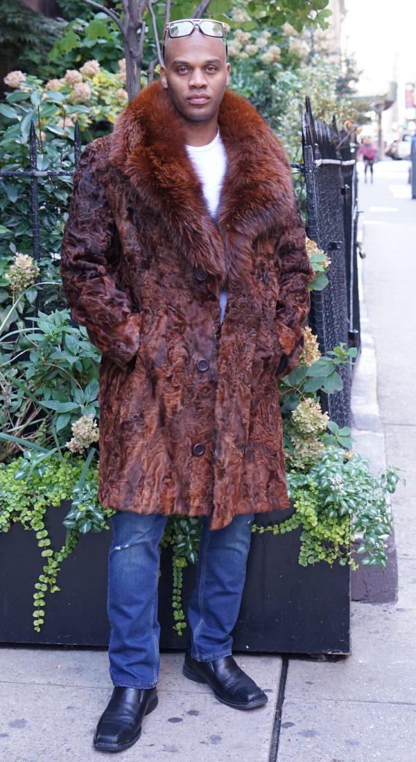 Men's Cognac Persian Stroller Fox Collar