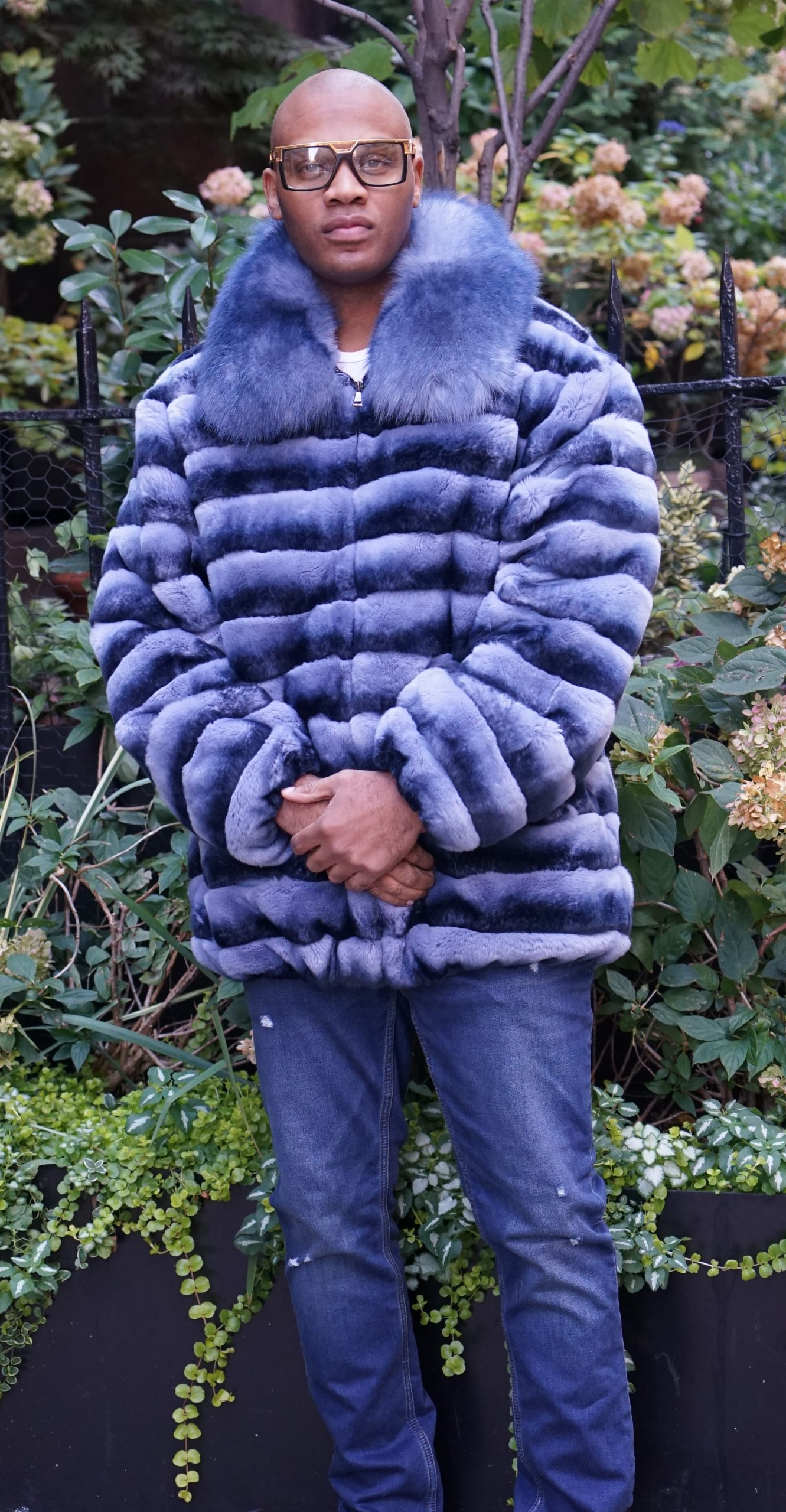 Men's Blue Dyed Rex Rabbit Chinchilla Design Jacket
