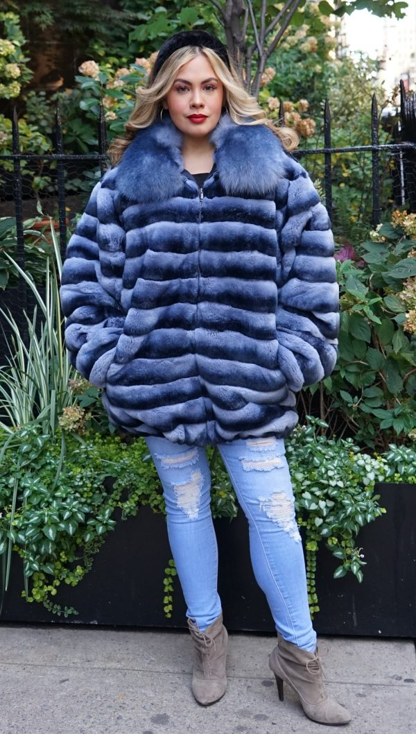 Denim Blue Rex Chinchilla Dyed Jacket