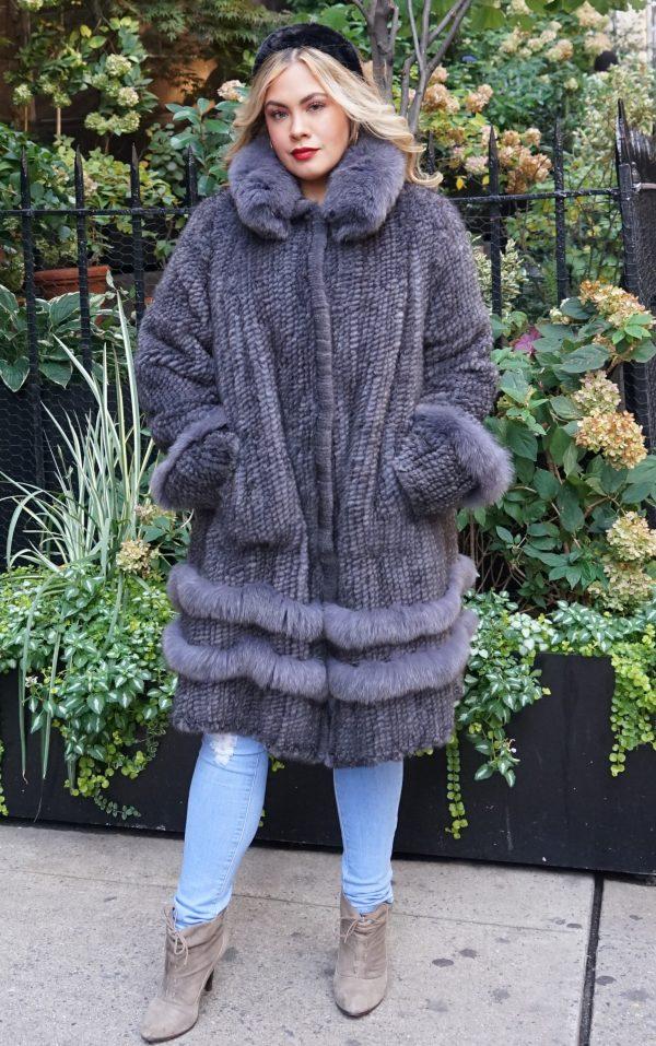 Plus Size Gray Knit Mink Jacket Fox Trim
