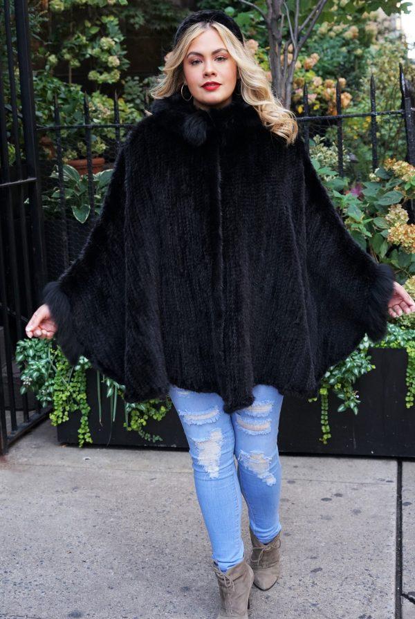 Black Knit Mink Poncho Fox Trim