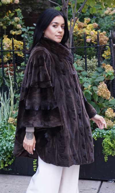 Brown Sheared Mink Poncho