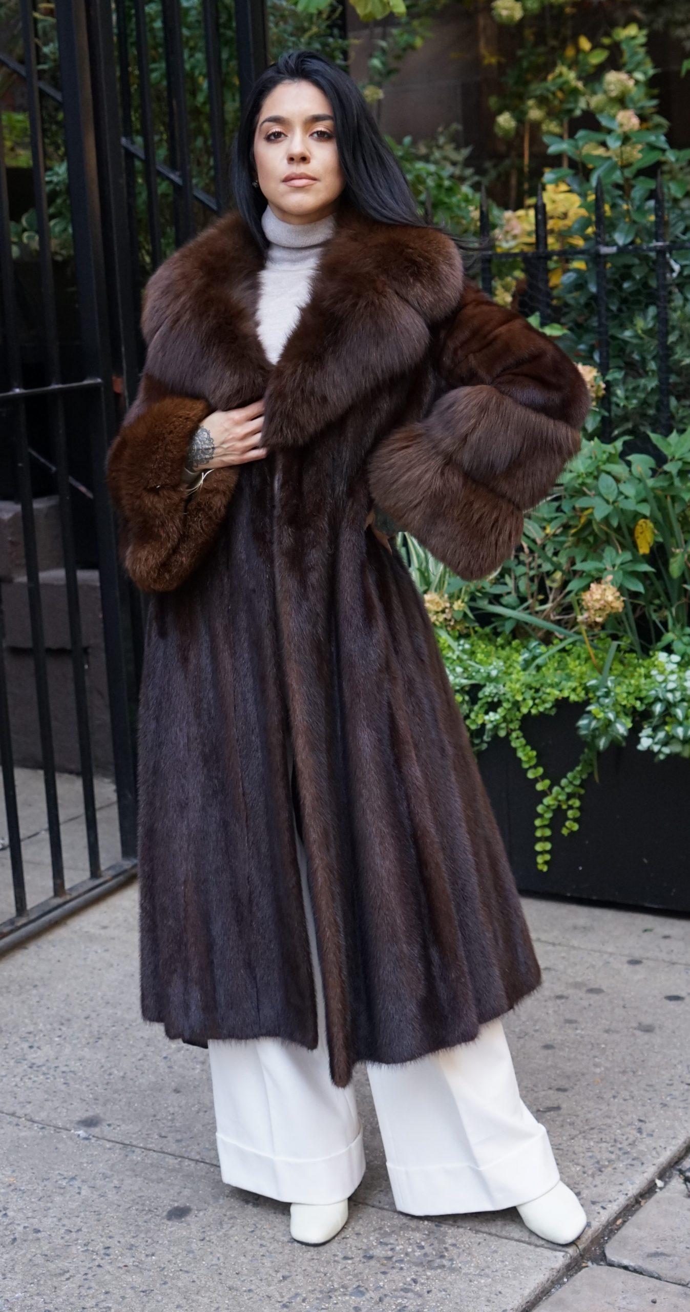 Vintage Mahogany Mink Coat Fox Trim