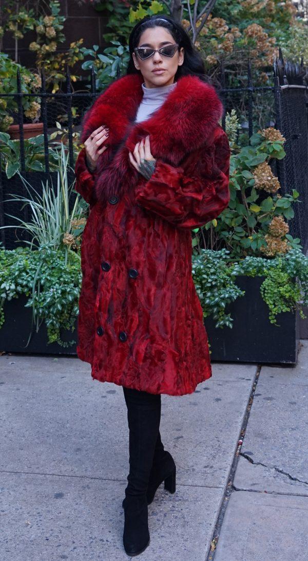 Red Persian Lamb Stroller Fox Collar