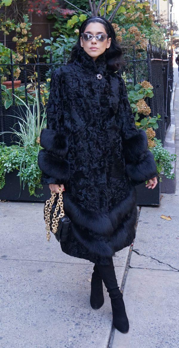 Black Persian Coat Fox Trim