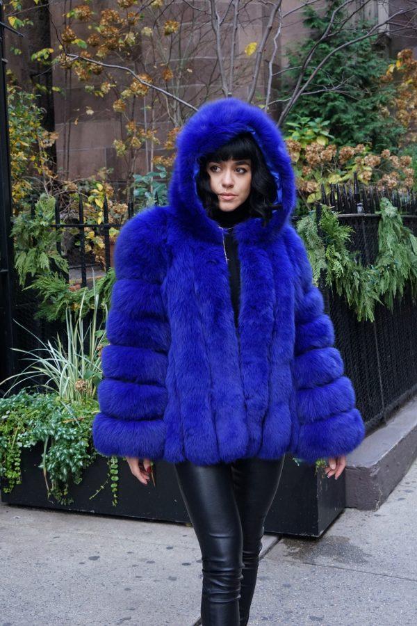 Royal Blue Fox Jacket Hood