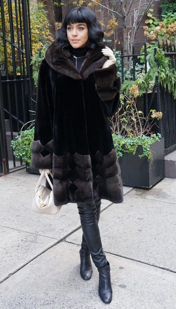 Black Sheared Mink Stroller Brown Mink Inserts