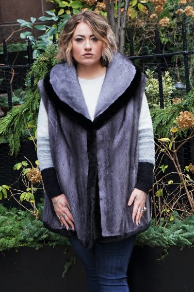 Plus Size Blue Iris Mink Vest Ranch Mink Trim