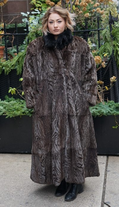 Preowned Full length Printed Rabbit Coat