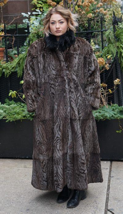 Preowned Full length Printed Rabbit Coat
