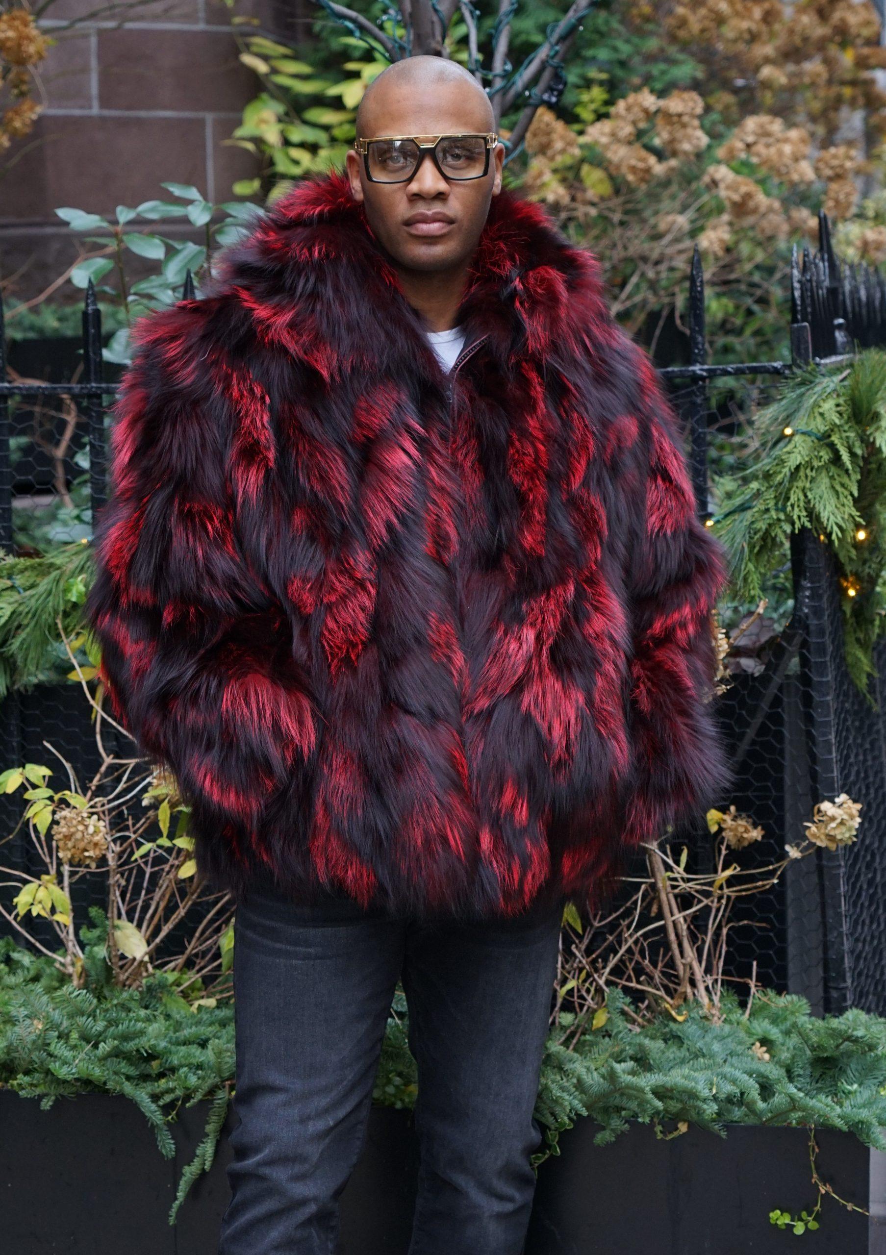 Burgundy Men's Fox Fur Jacket Hooded