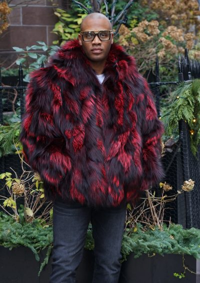 Burgundy Black Men's Fox Fur Jacket Hooded