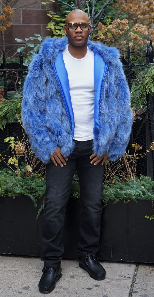 Light Blue Fox Hooded Jacket