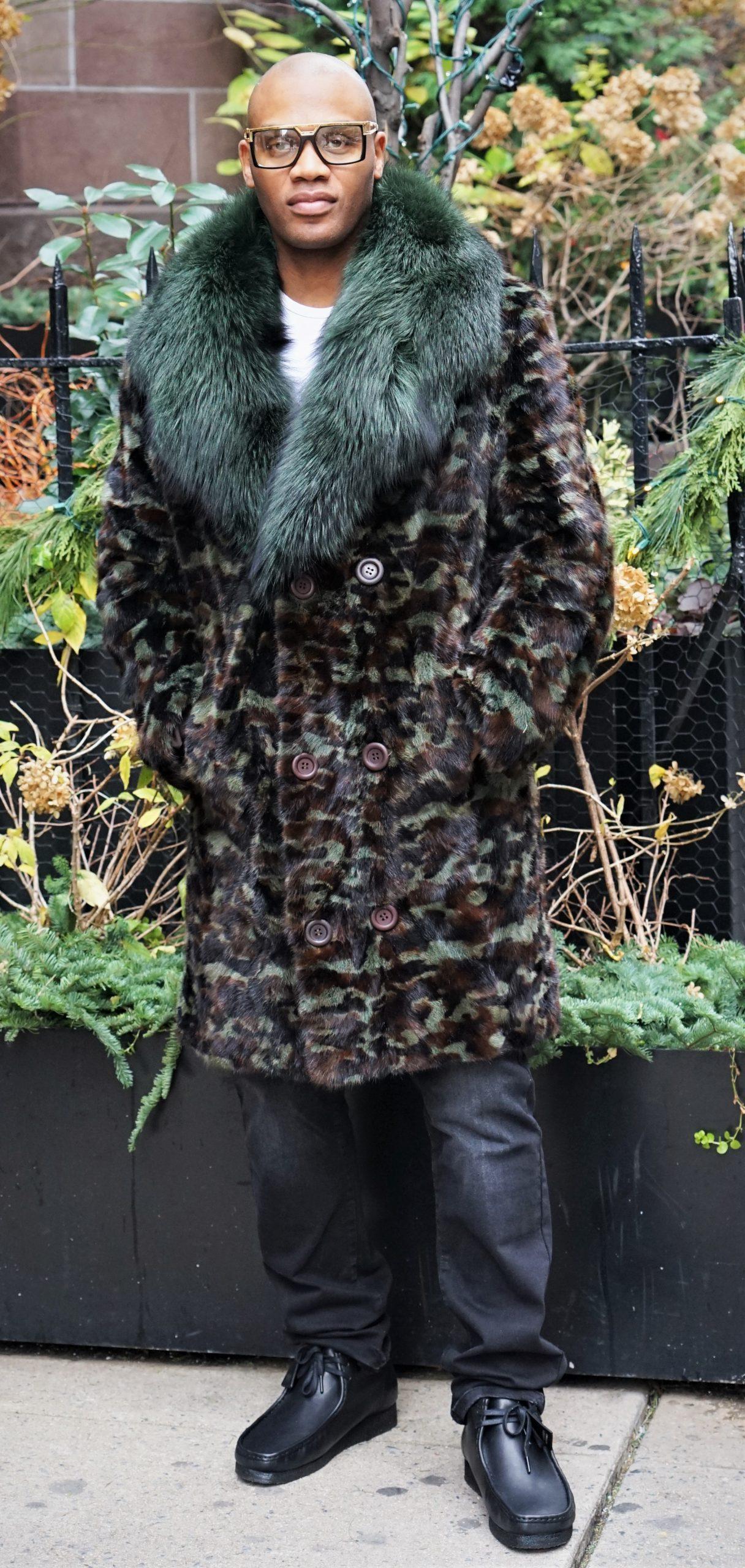 Men's Military Camouflage Mink Stroller Fox Collar
