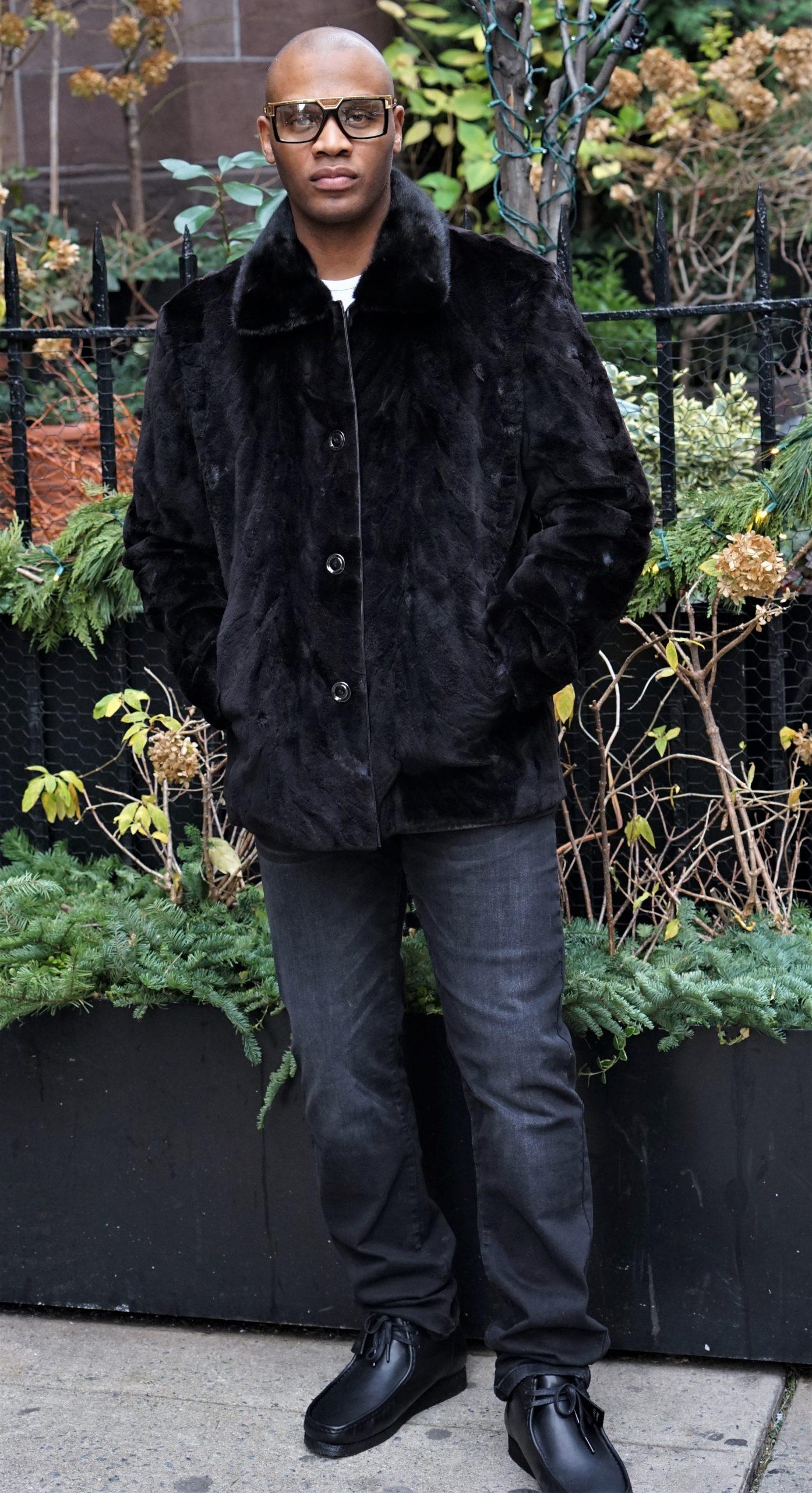 Black Leather Jacket Reversible mink