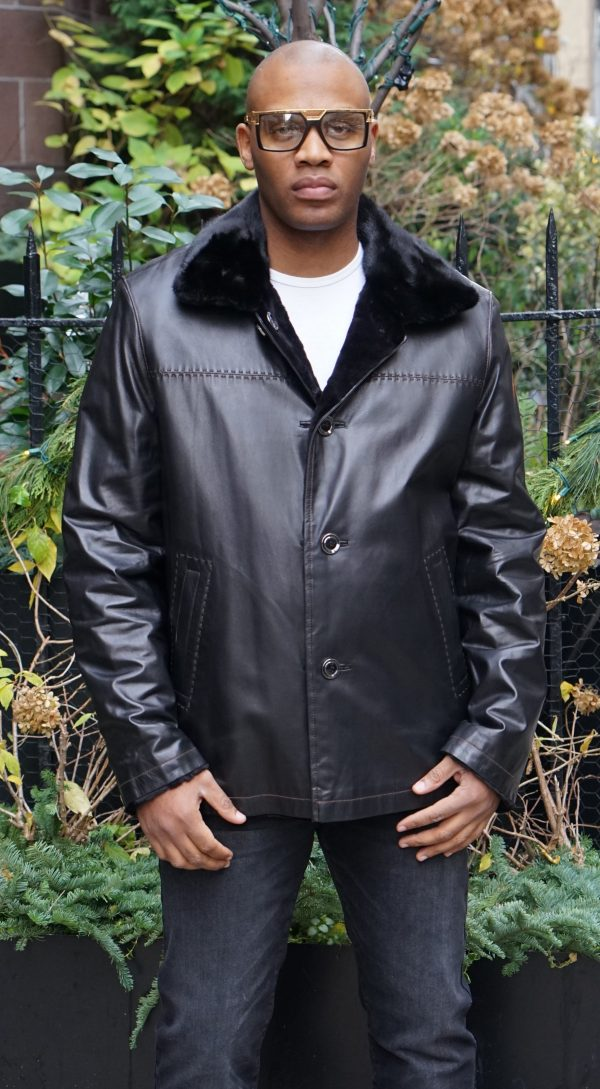 Black Leather Jacket Reversible to Sheared Mink