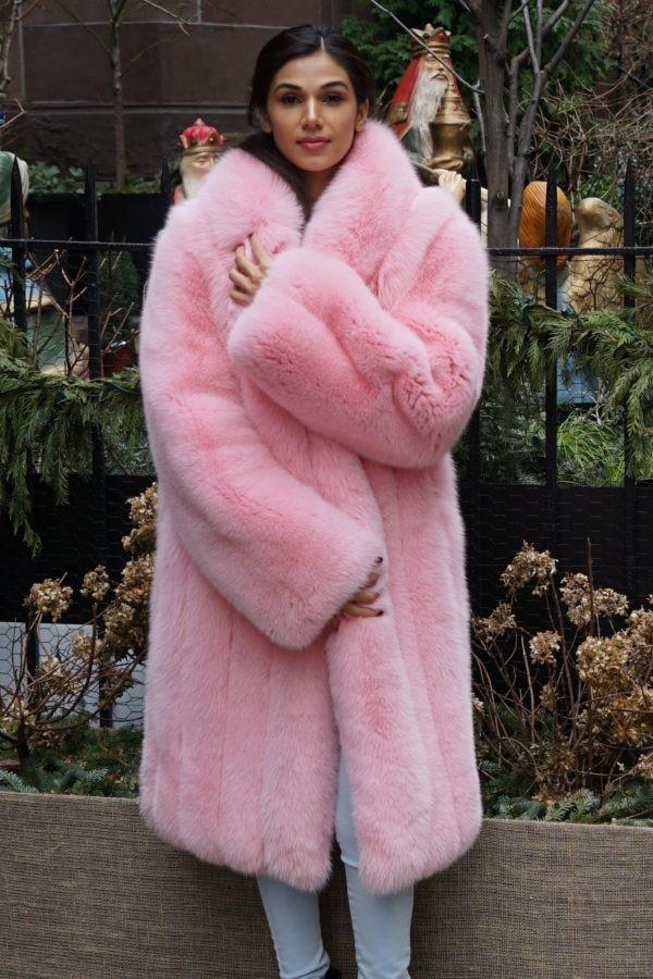 Pink Fox Coat Shawl Collar