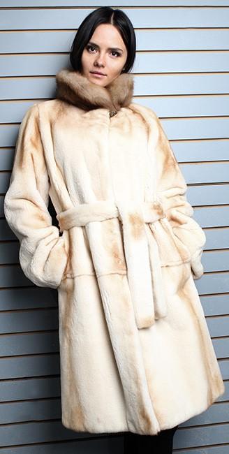 Belted Camel Colored Fur Coat