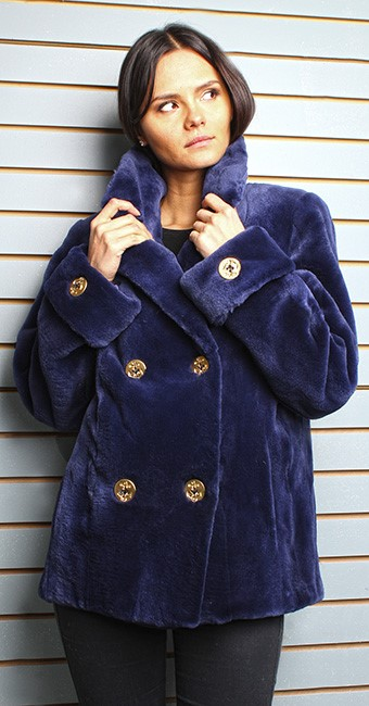 Navy Blue Sheared Mink Fur Pea Coat