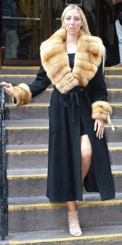 Woman Wearing a Black Cashmere Coat with a Canadian Sable Coat