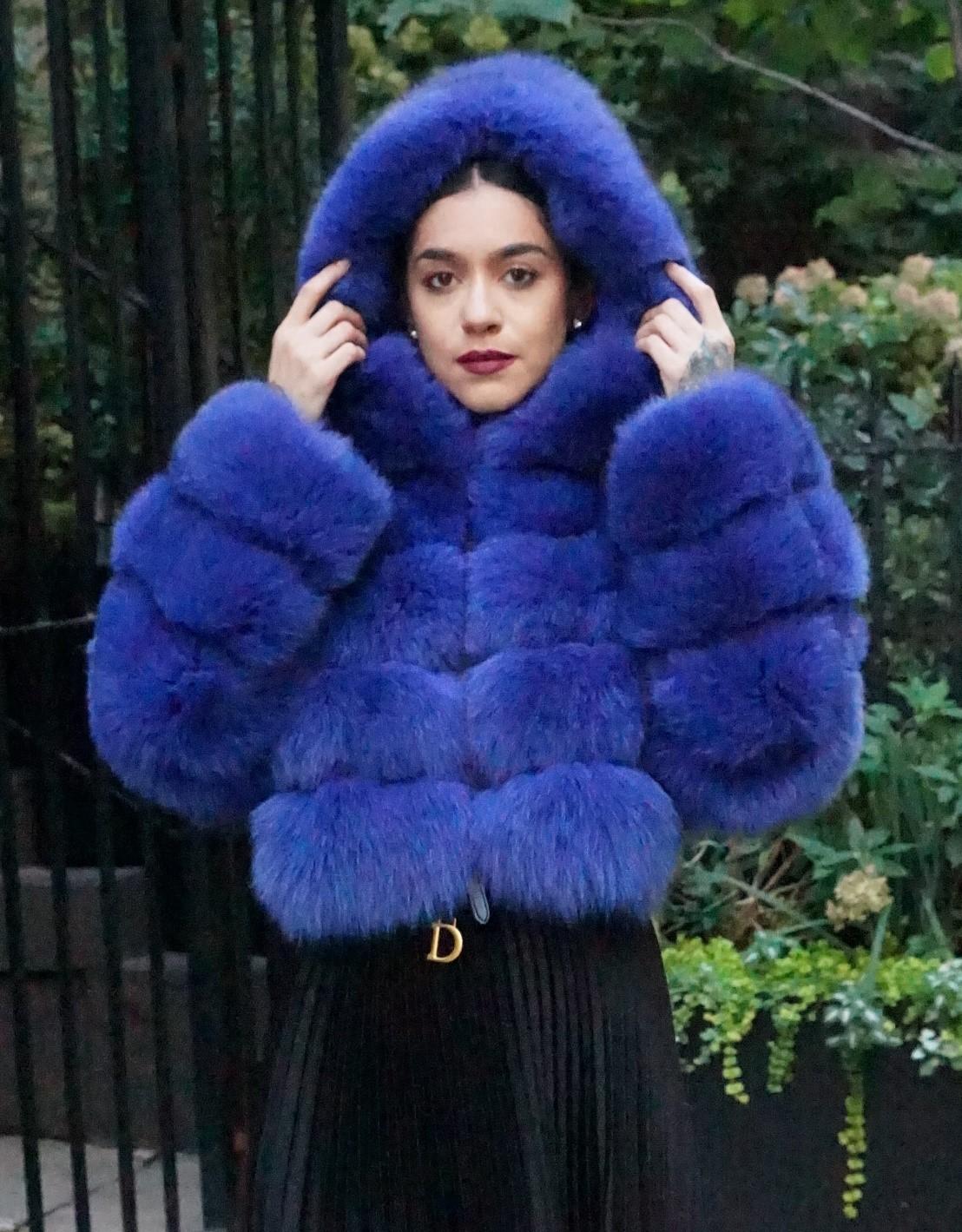 Dyed Blue Fur Hood