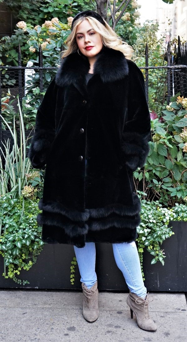 Black Sheared Rex Rabbit coat with a Black Fox Trim