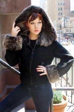 Black Shearling Jacket Grey Hood