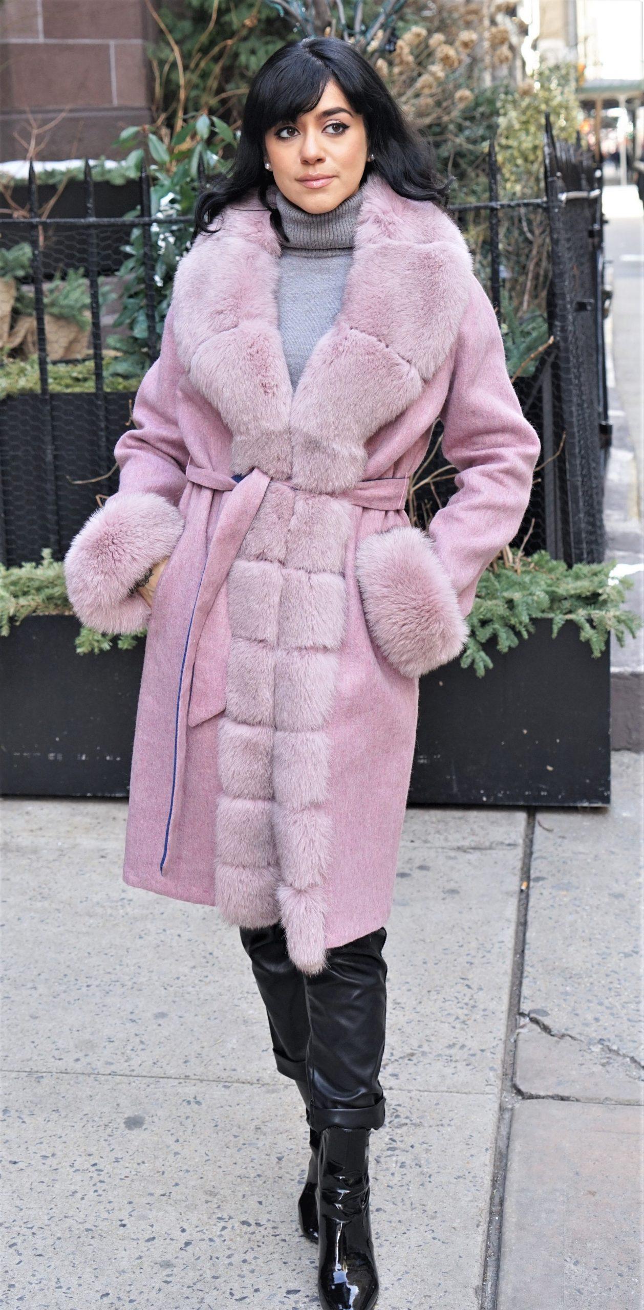 Dusty Rose Alpaca Coat Fox Trim