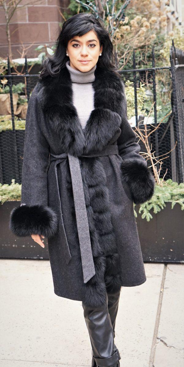 Black Alpaca Coat Fox Tuxedo