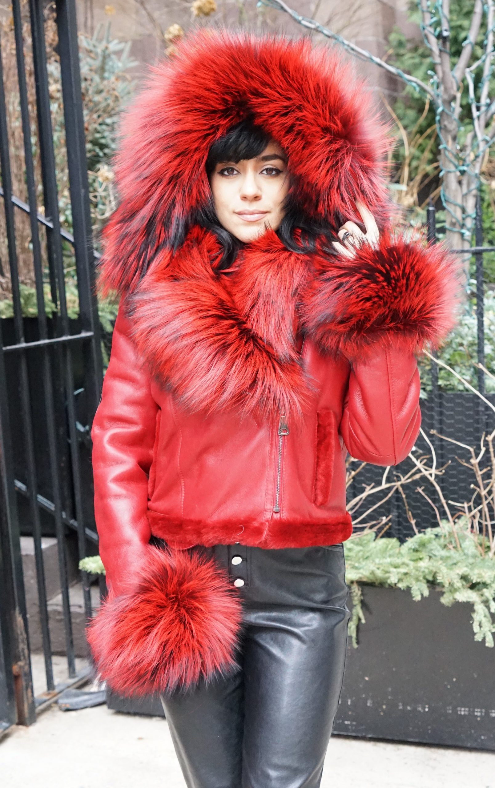 Red Shearling Jacket Dyed Red Silver Fox Collar Cuffs
