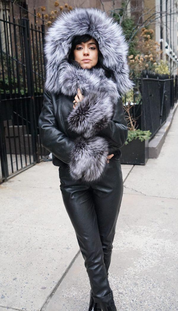 Black Shearling Jacket Silver Fox Hood