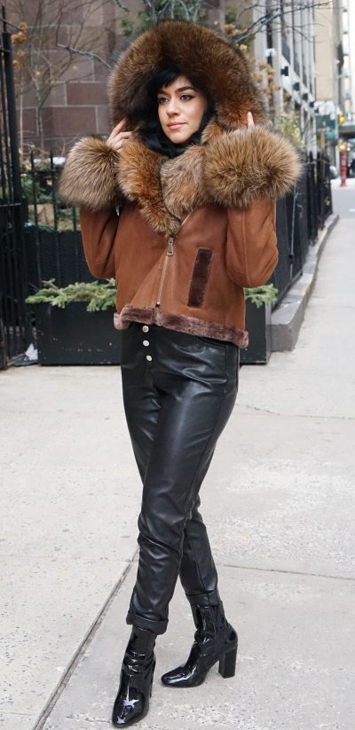 Cognac Shearling Jacket Fox Trim