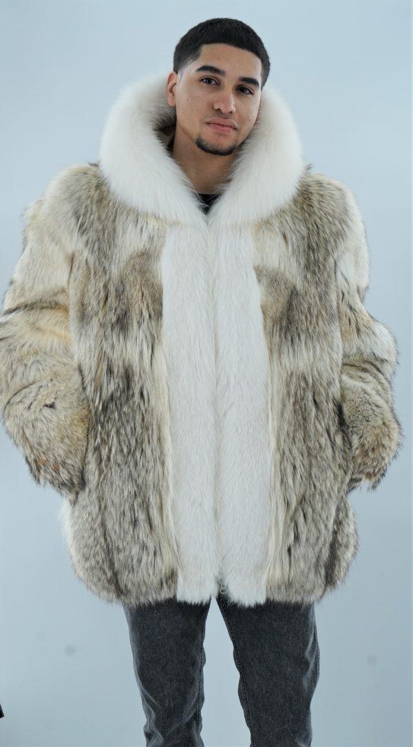 Men's Coyote Fur Jacket White