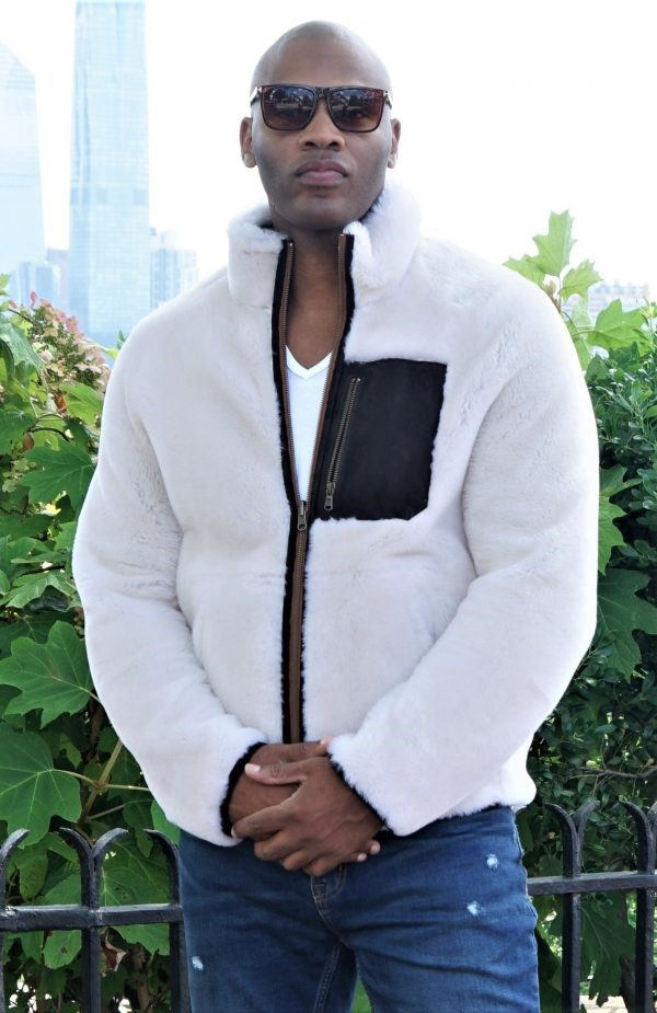 Designer Men's White Shearling Jacket w/ Pocket